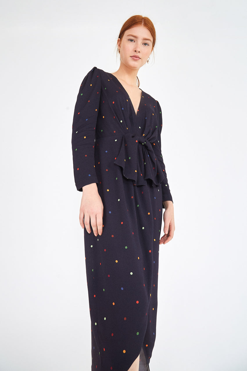 BLACK DOTS MIDI DRESS