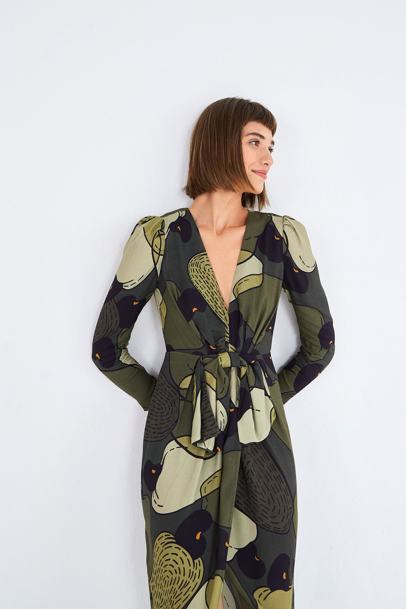 MILITARY CASHEW MIDI DRESS