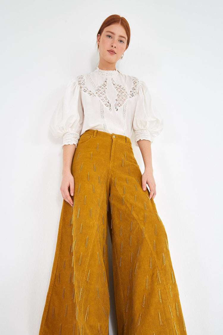 BEADED CORDUROY PANTS