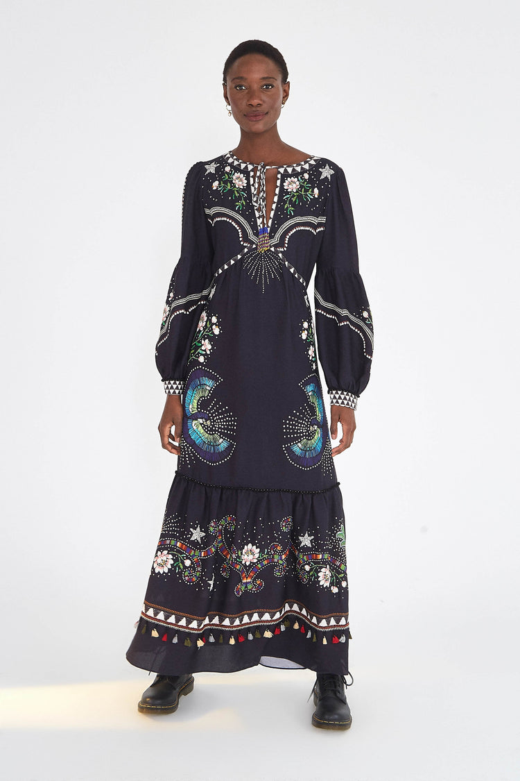 BLACK BOROGODO MAXI DRESS