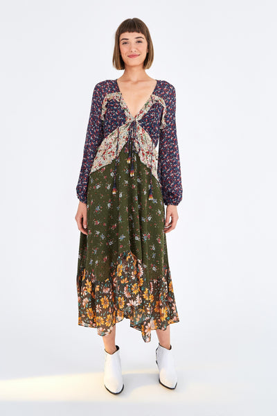 MIXED LIBERTY MIDI DRESS