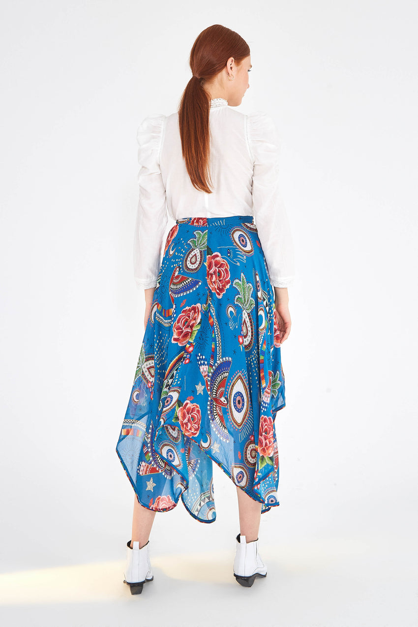 MYSTIC BLUE MIDI SKIRT