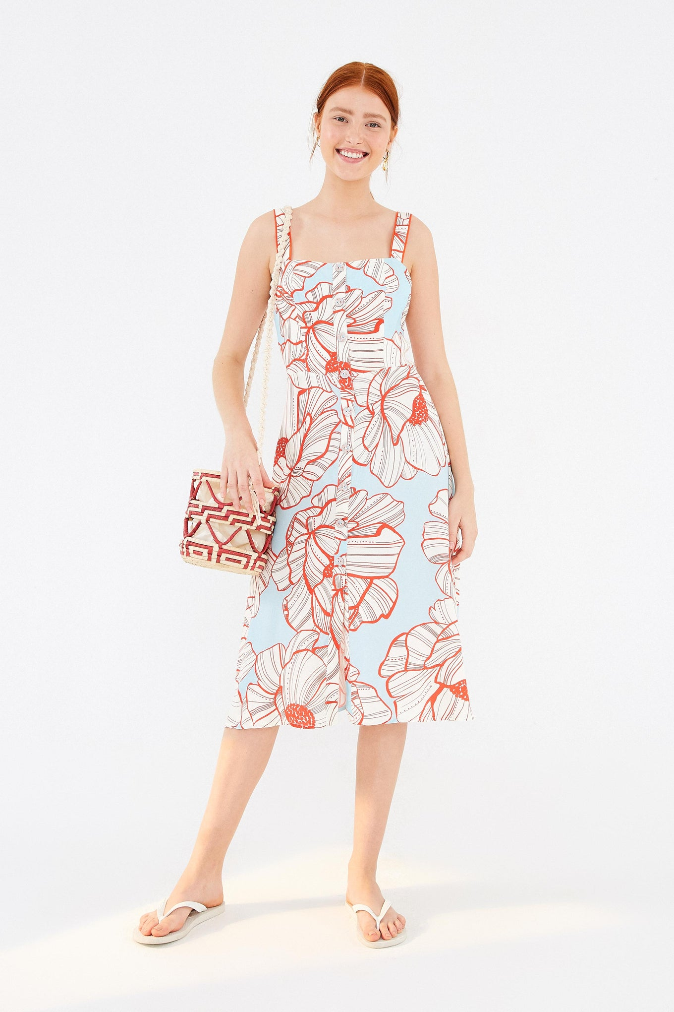 GRAPHIC FLORAL MIDI DRESS
