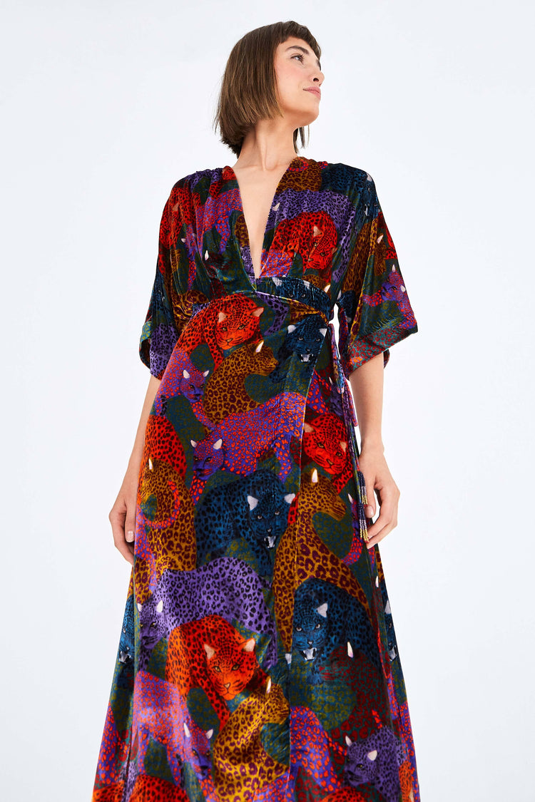 RAINBOW JAGUAR VELVET DRESS