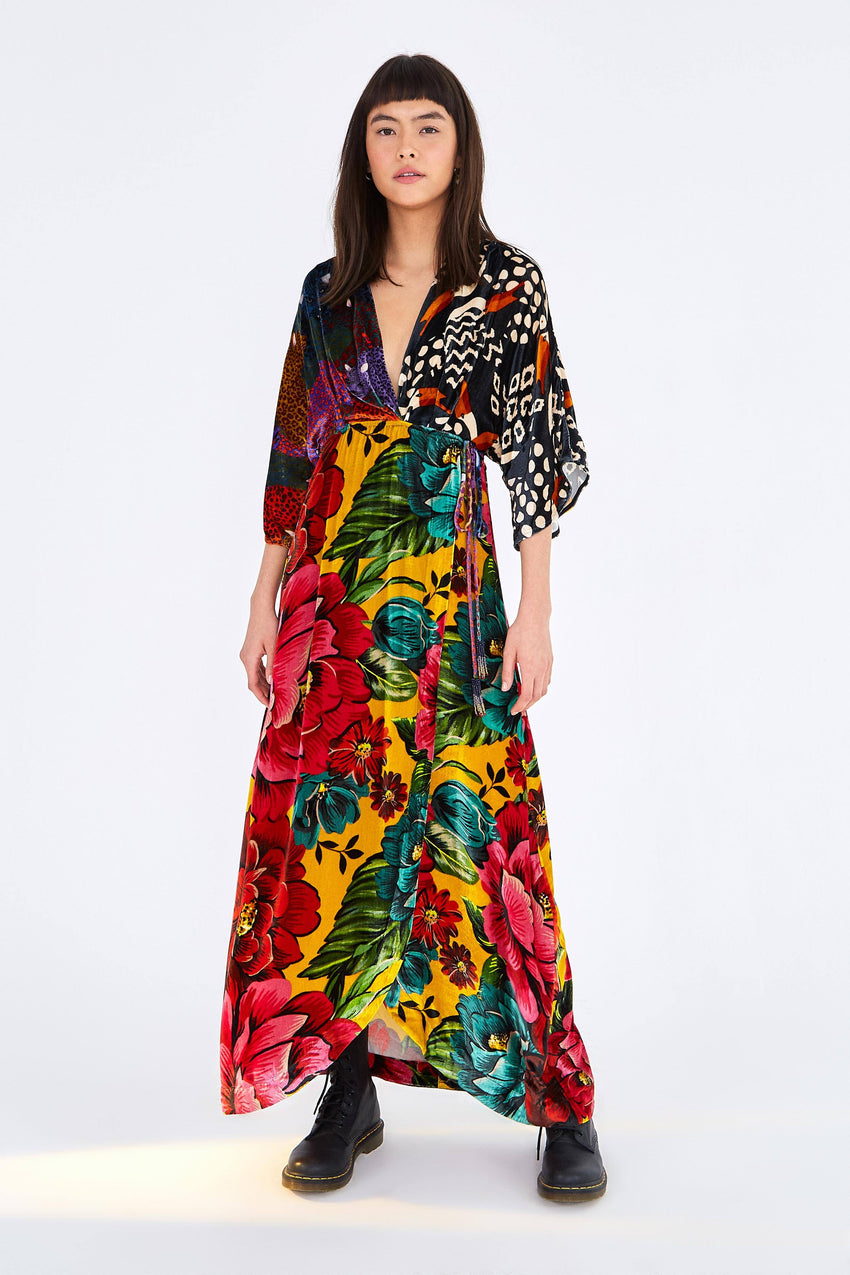 MIXED PRINT VELVET WRAP DRESS