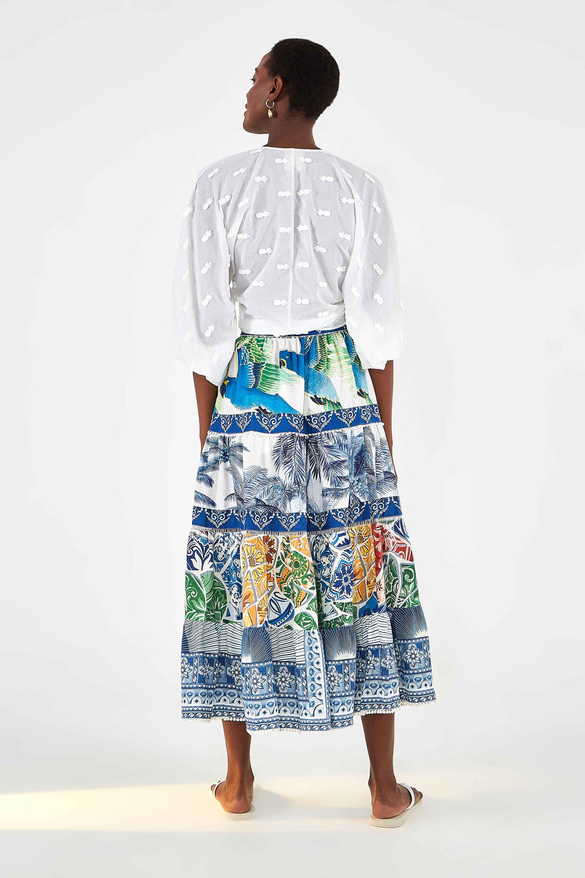 FARM RIO BLUE TILE MIDI SKIRT
