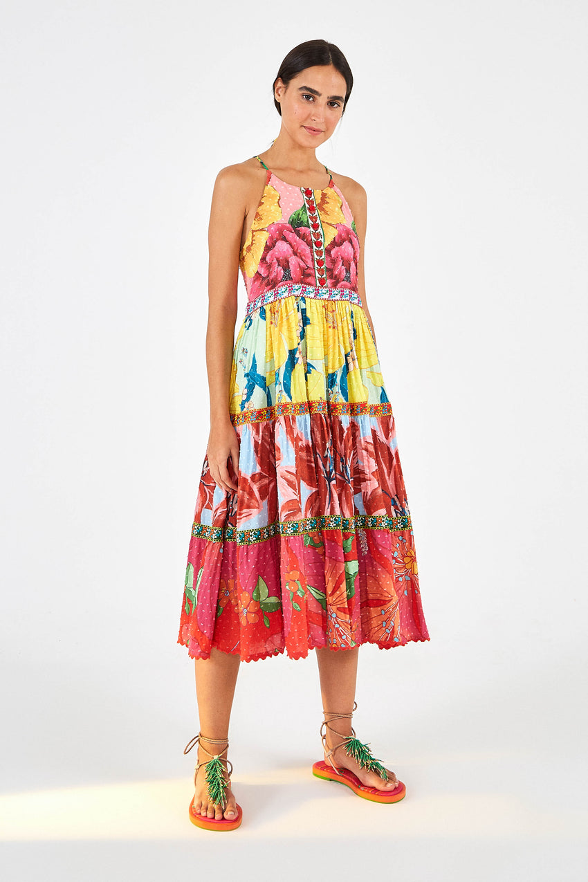 MIXED GARDEN MIDI DRESS