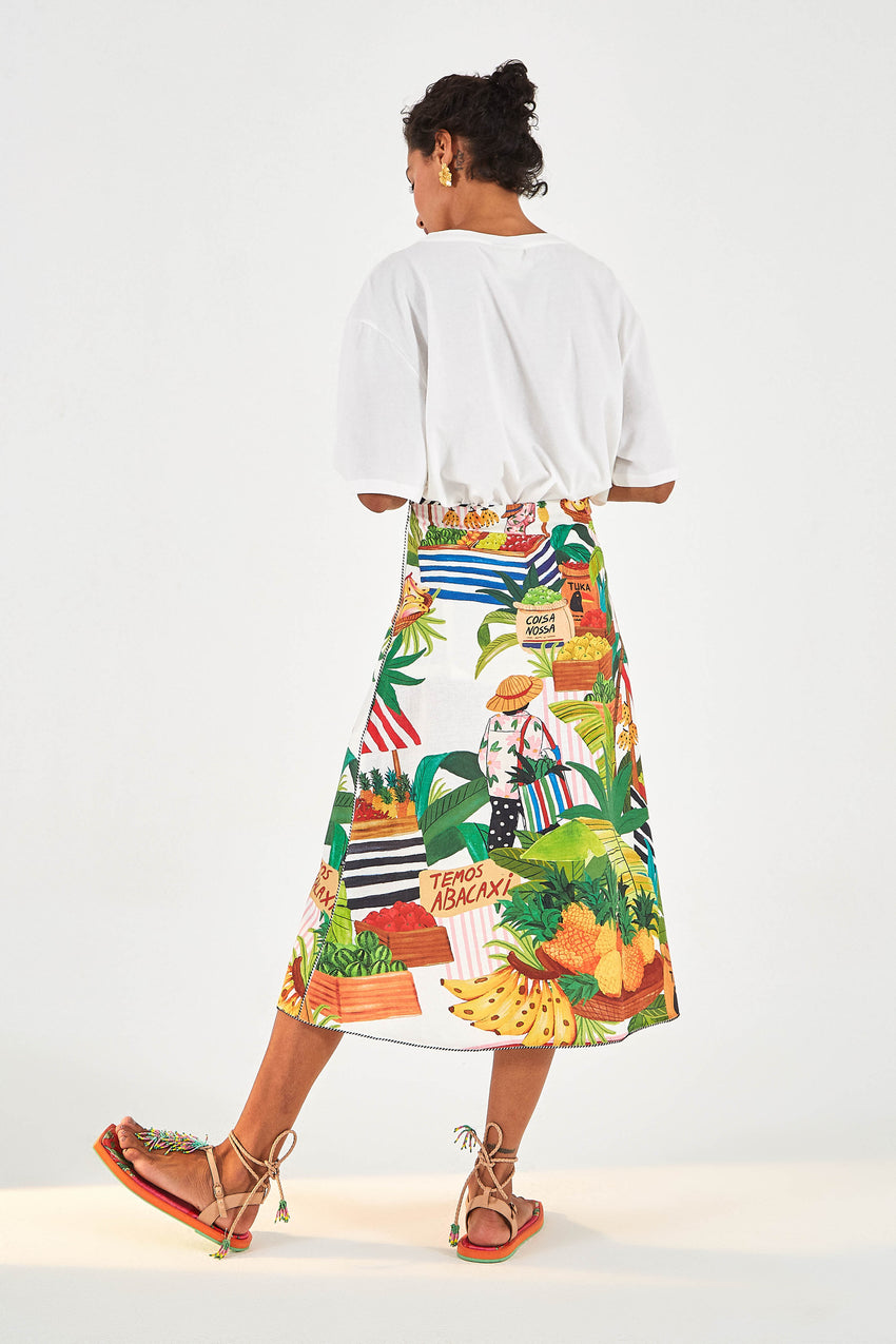 TROPICAL FAIR MIDI SKIRT