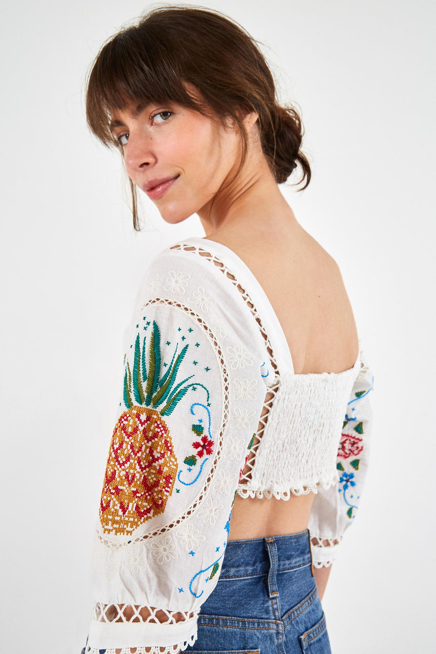 EMBROIDERED SCARF BLOUSE
