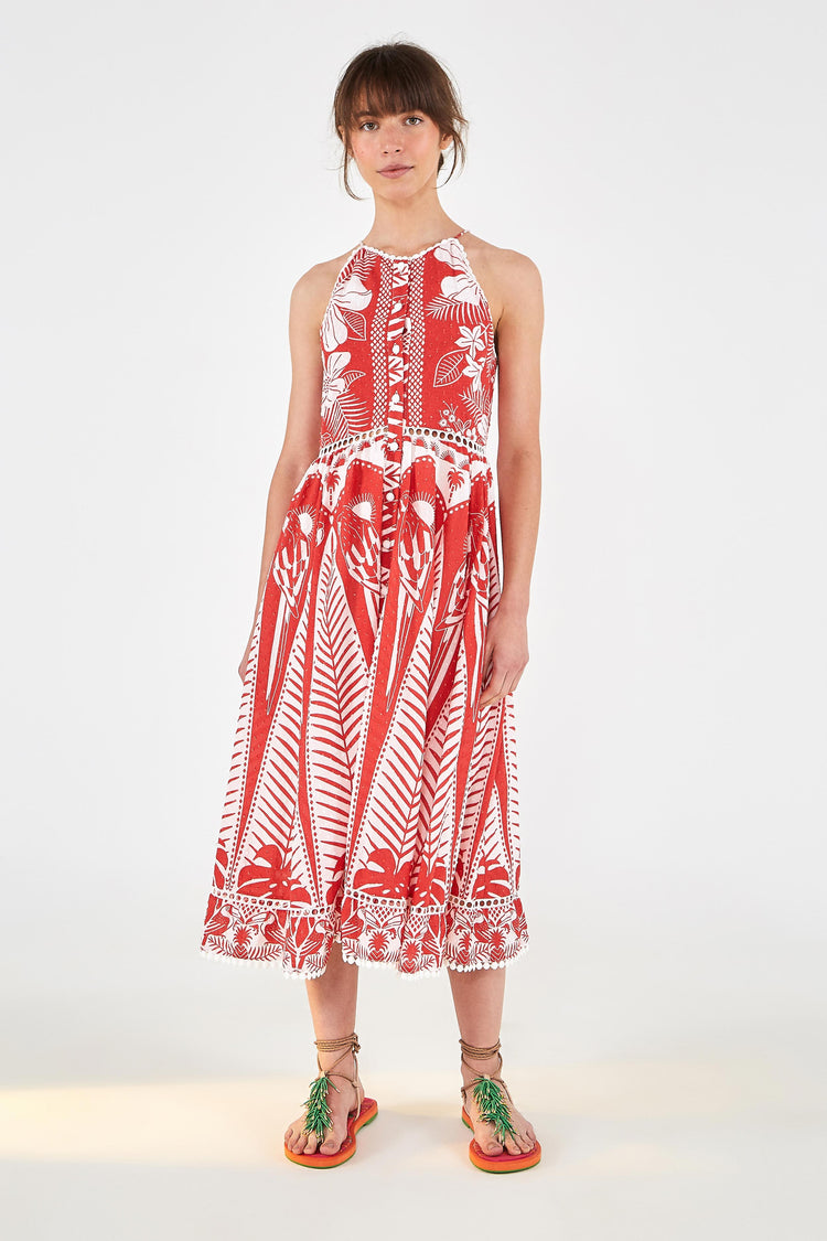 RED PALM MIDI DRESS