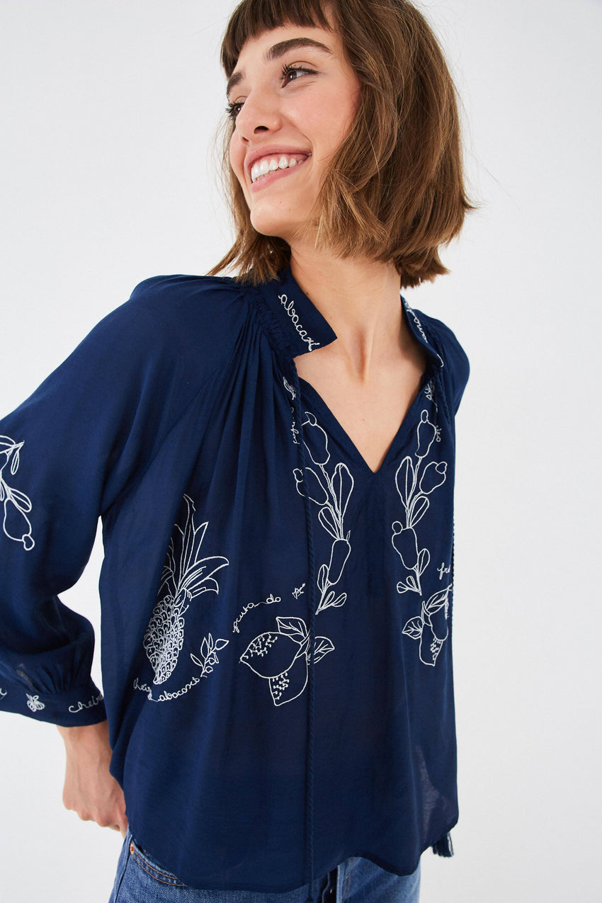 SHEER PINEAPPLE EMBROIDERED BLOUSE
