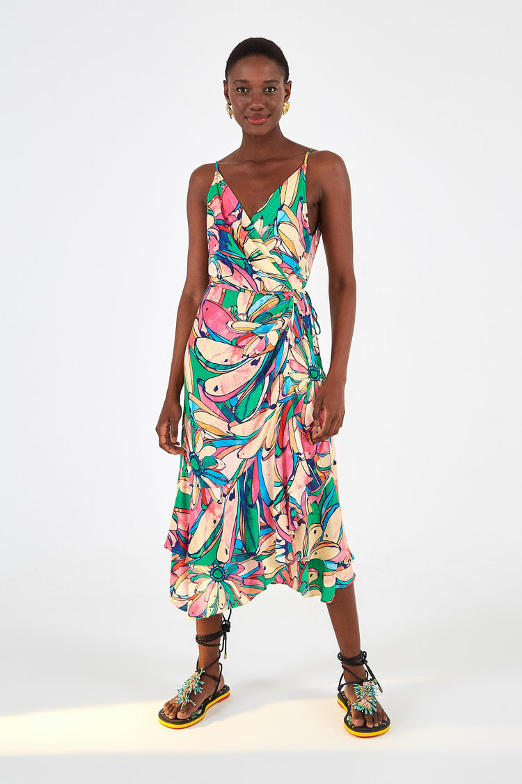 RAINBOW BANANA MIDI DRESS
