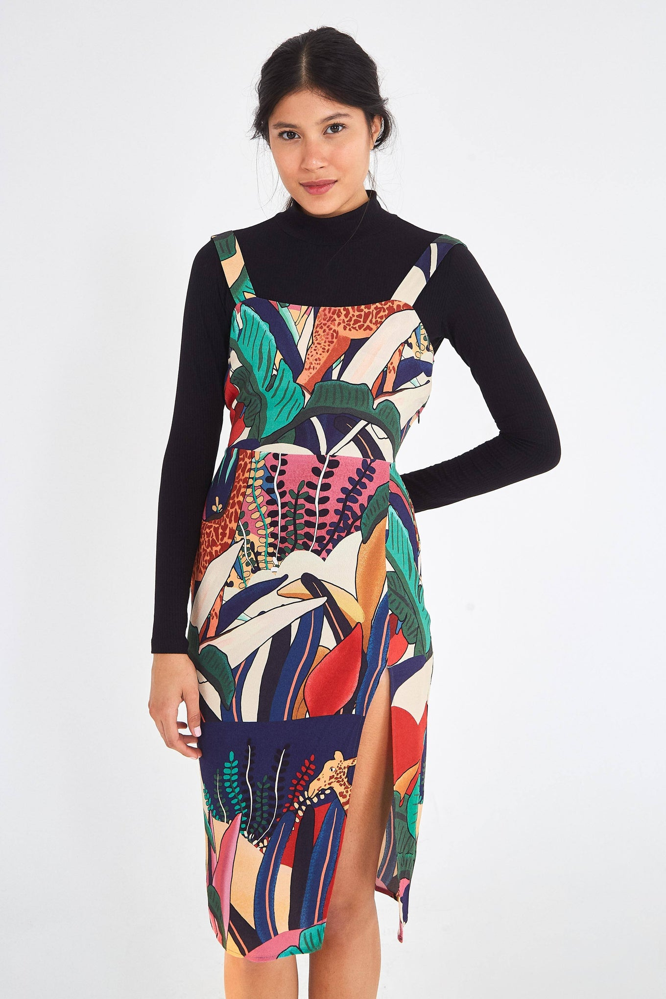 RAINBOW FAUNA MIDI SLIP DRESS