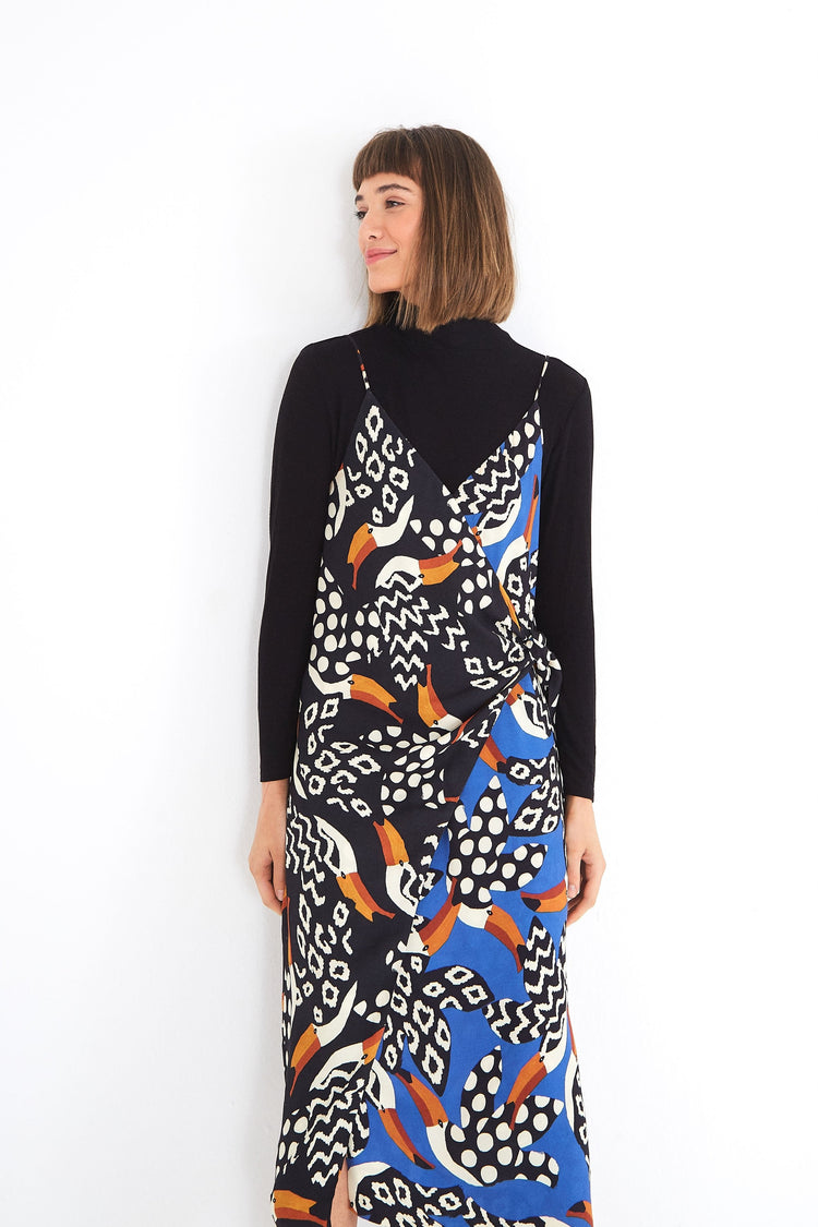 MIXED TUCANO WRAP DRESS