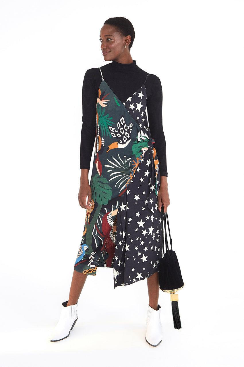 TROPICAL STARDUST WRAP DRESS