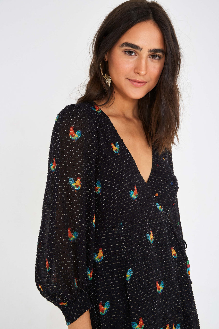 MIXED ROOST WRAP DRESS