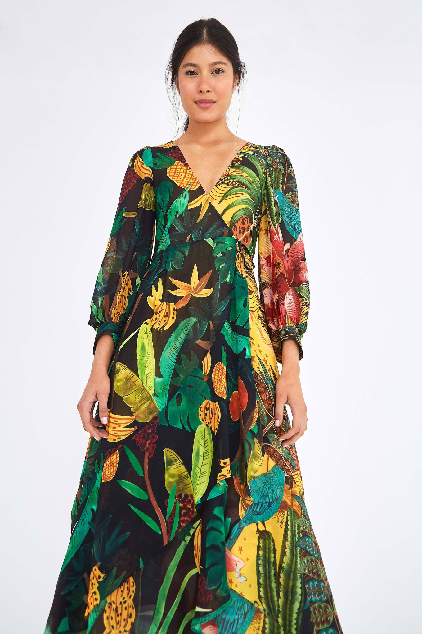 MIXED PRINT WRAP DRESS