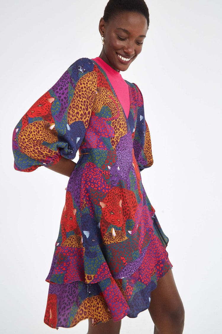 RAINBOW JAGUAR WRAP DRESS