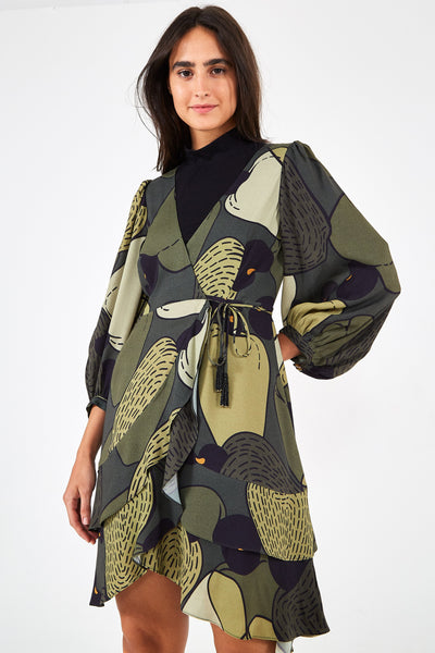 MILITARY CASHEW WRAP DRESS