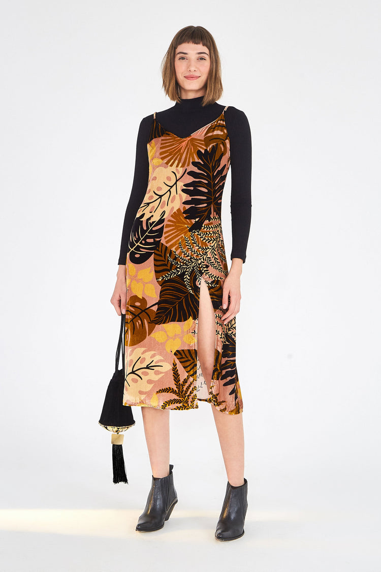 GOLDEN LEAVES VELVET DRESS
