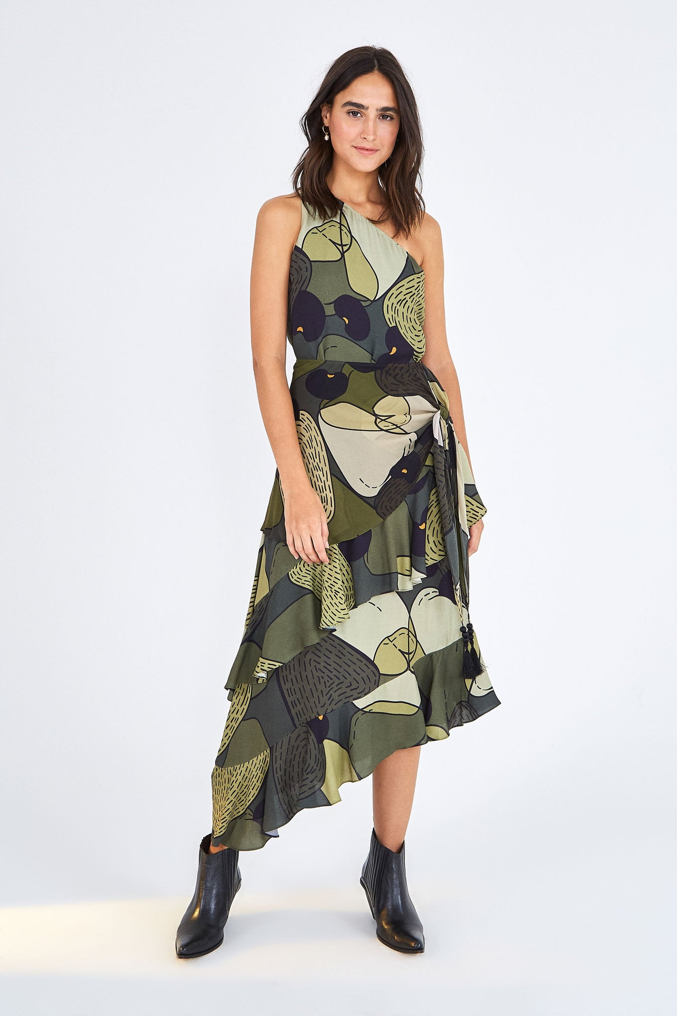 MILITARY CASHEW ONE SHOULDER DRESS