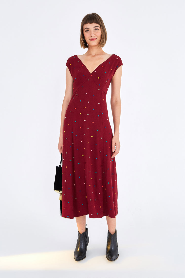 BURGUNDY DOTS MIDI DRESS