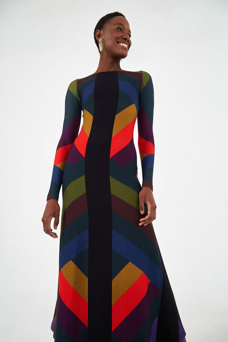 JULIA STRIPE MIDI DRESS