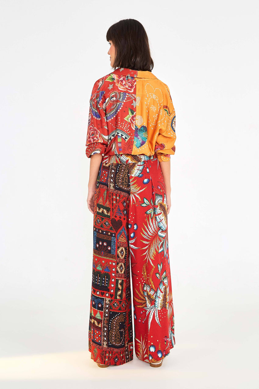 MYSTIC RED MIXED PRINT PANTS