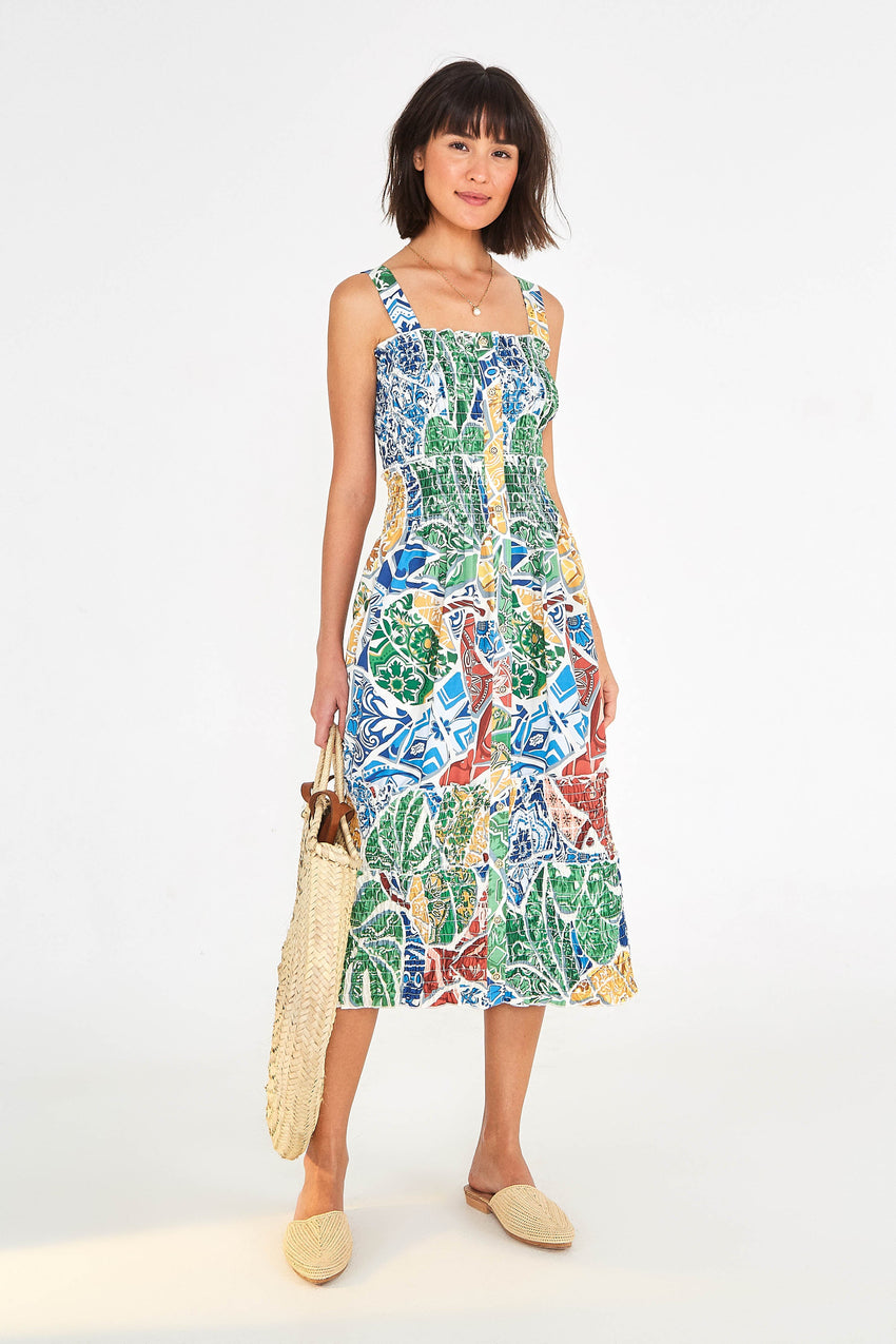 TROPICAL TILE MIDI DRESS
