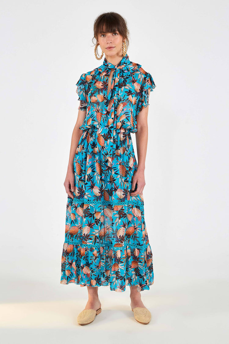 PINEAPPLE FOREST TIE NECK DRESS