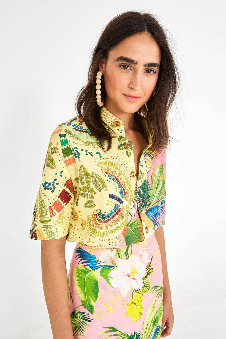 COLORFUL BIRDS MIXED PRINT SHIRT