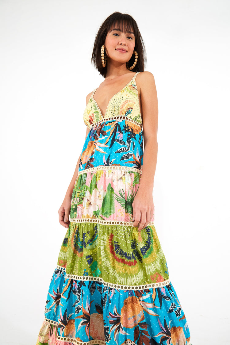 COLORFUL BIRDS MAXI DRESS