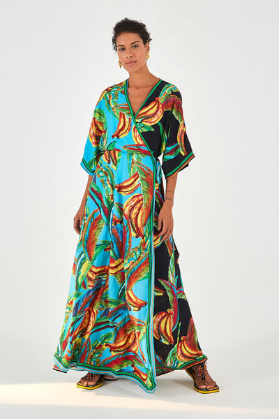 MIXED BANANA WRAP DRESS