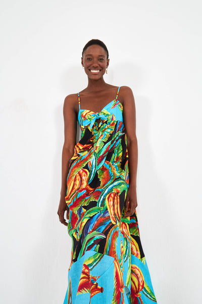 MIXED BANANA MAXI DRESS