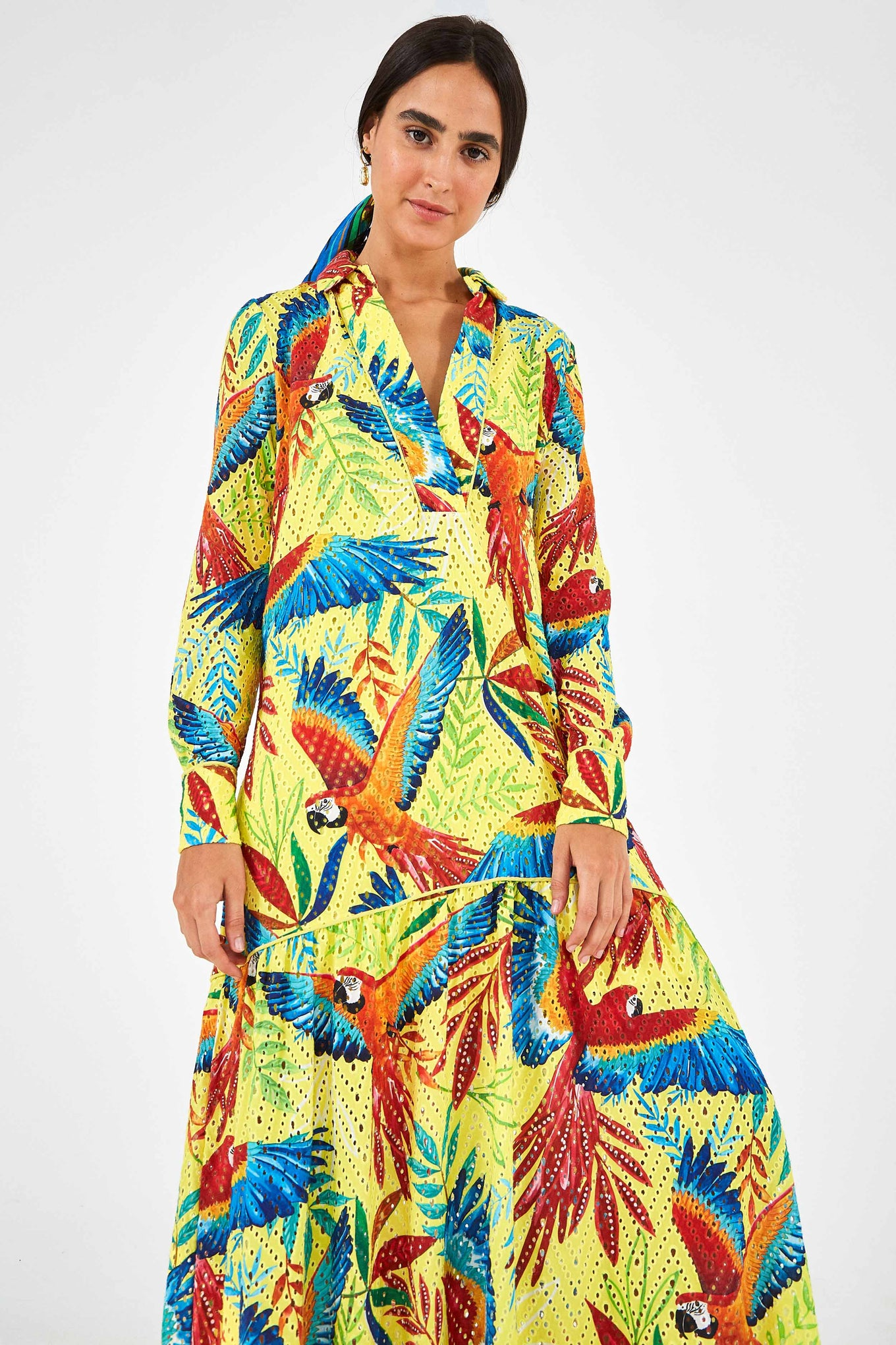 MACAW LEAF MAXI DRESS