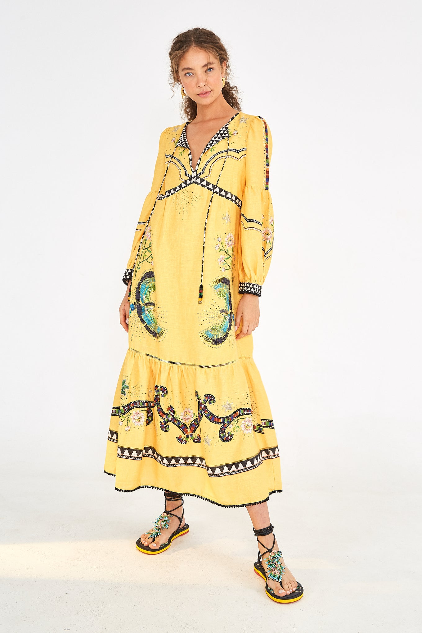 YELLOW BOROGODO LINEN DRESS