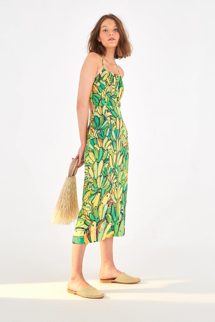 GREEN BANANA LINEN MIDI DRESS