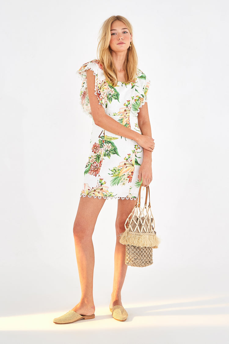 TROPICAL FLORAL LINEN MINI DRESS