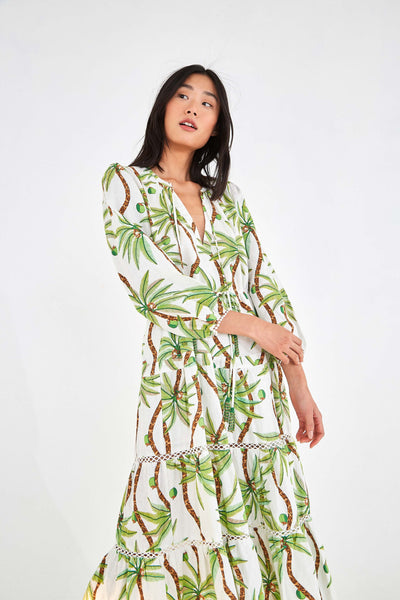 SWINGING PALM LINEN DRESS