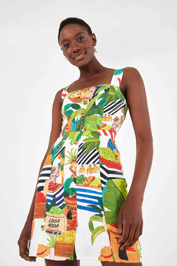 TROPICAL FAIR LINEN MINI DRESS