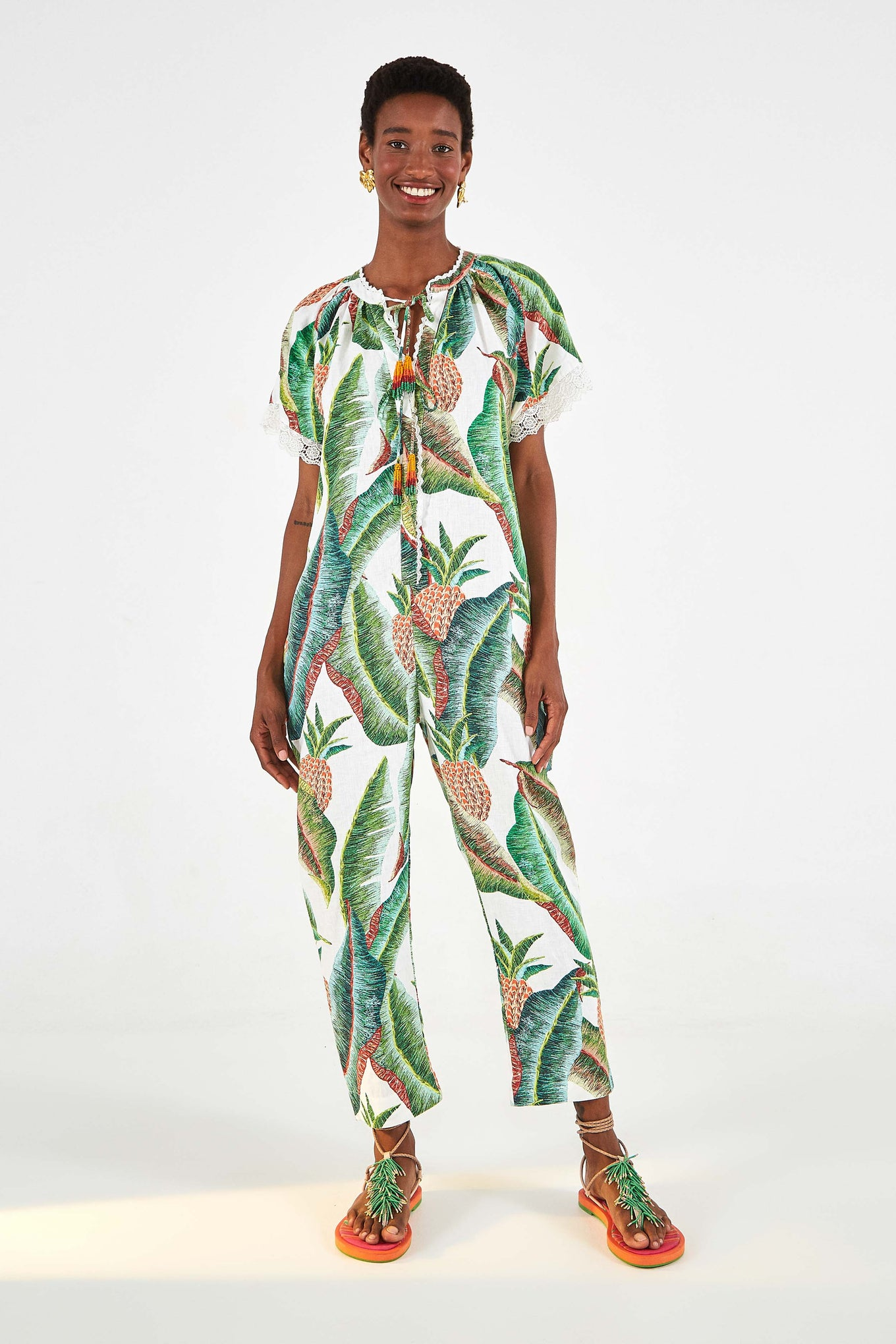 FOREST PALM LINEN JUMPSUIT