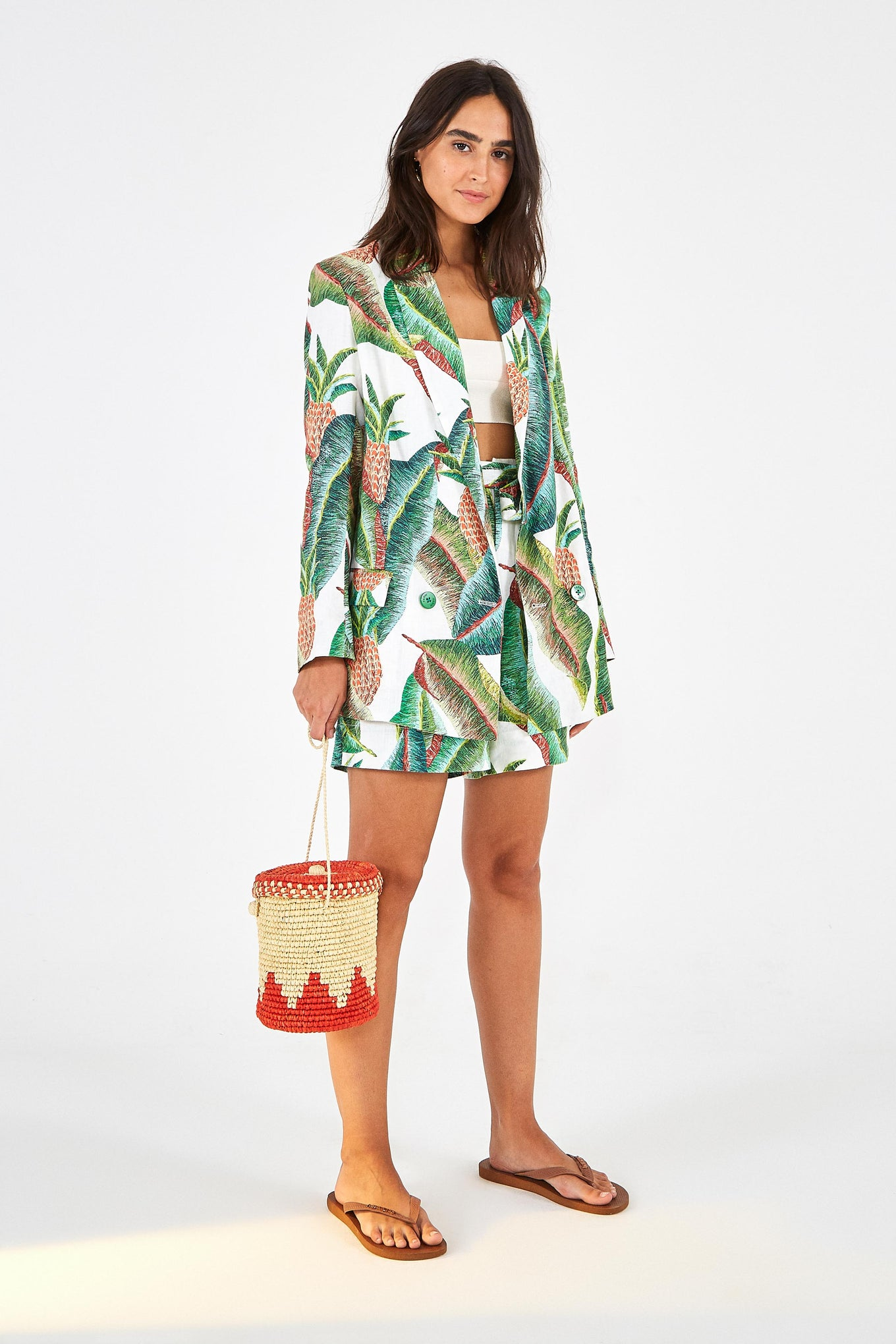 FOREST PALM LINEN BLAZER