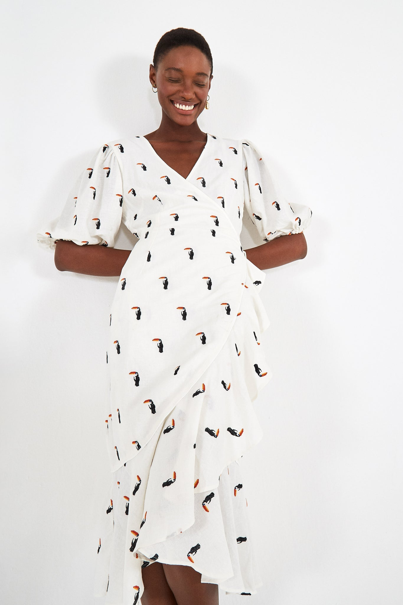 EMBROIDERED TUCANO WRAP DRESS