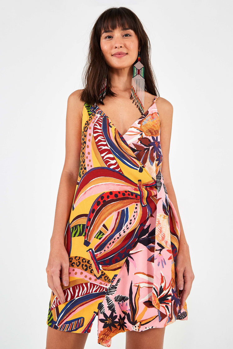 BANANA MIX MINI WRAP DRESS