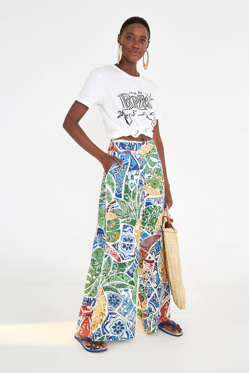 TROPICAL TILE LINEN PANTS