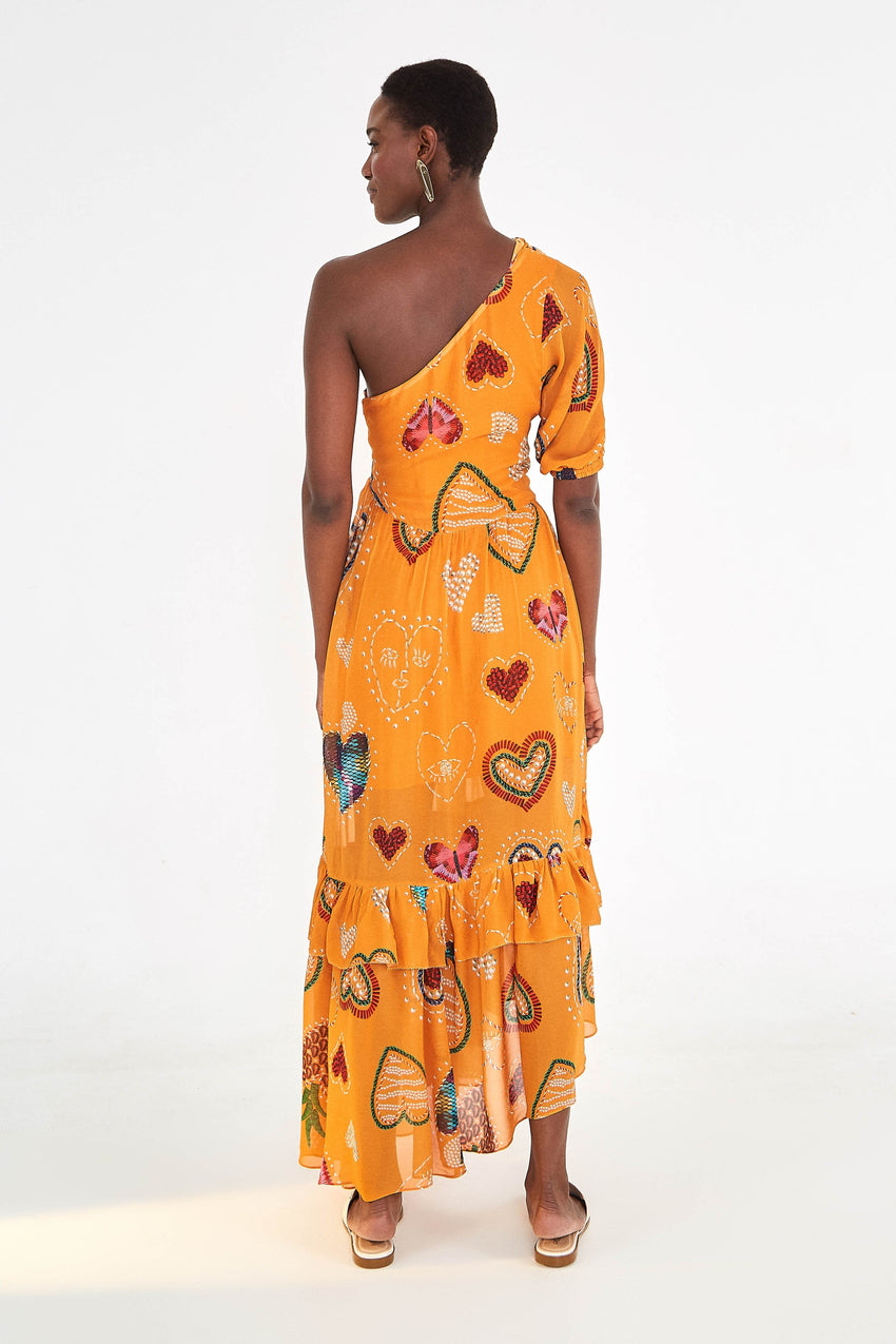 YELLOW HEARTS ONE SHOULDER DRESS