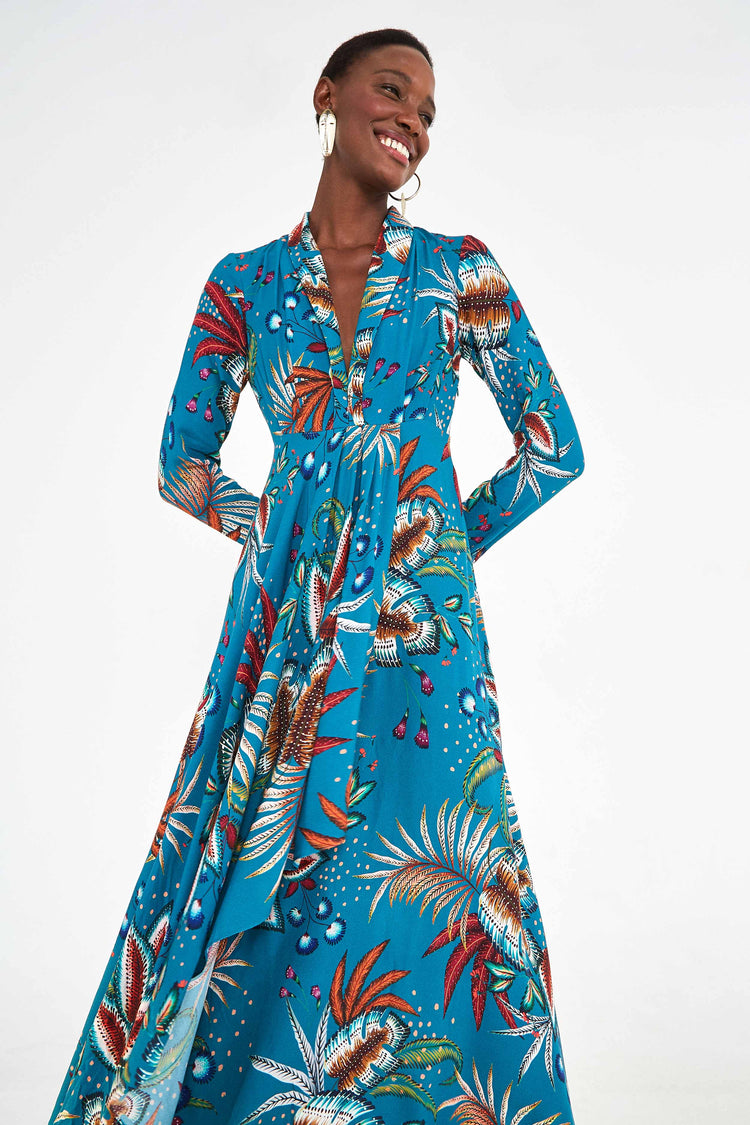 BLUE LEAF V NECK MAXI DRESS
