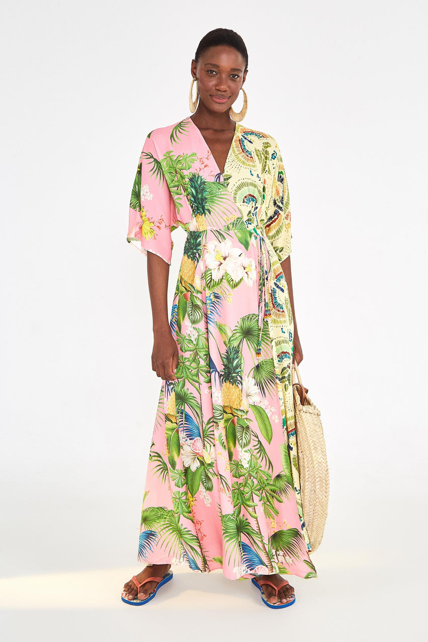 COLORFUL BIRDS MIXED PRINT MAXI DRESS