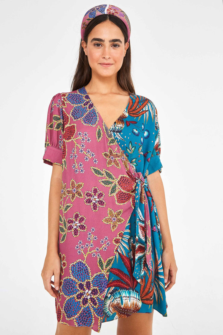 FLORAL SPARKLE MIXED MINI WRAP DRESS