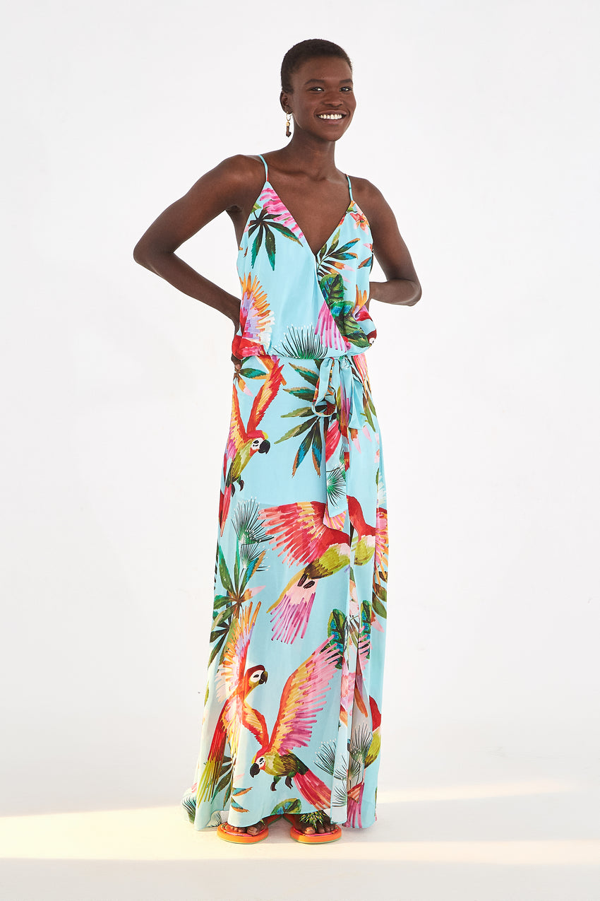BLUE MACAW WRAP DRESS